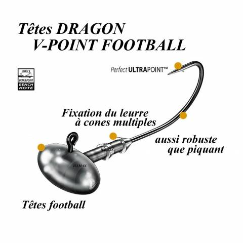 TÊTES PLOMBEES DRAGON V-POINT FOOTBALL / Shads/Swimbaits