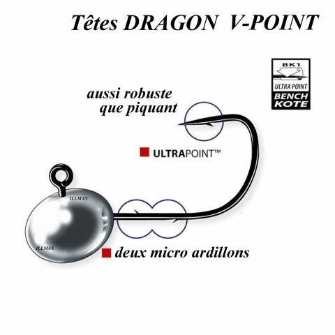 TÊTES PLOMBEES DRAGON V-POINT MICRO / Leurres souples