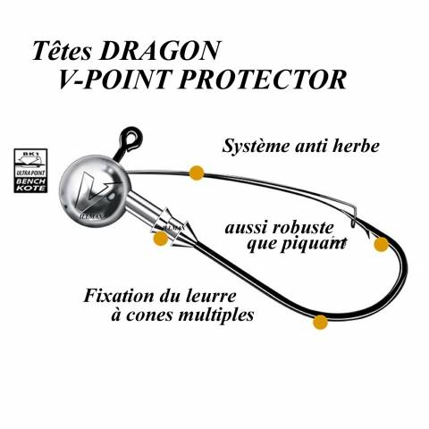 TÊTES PLOMBEES DRAGON V-POINT PROTECTOR / Leurres souples
