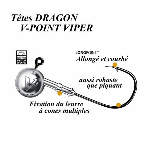 TÊTES PLOMBEES DRAGON V-POINT VIPER / Leurres souples