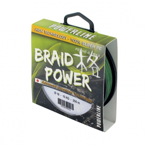TRESSE BRAID POWER VERTE 250m POWERLINE / Tresses/Tresses acier/Lead core